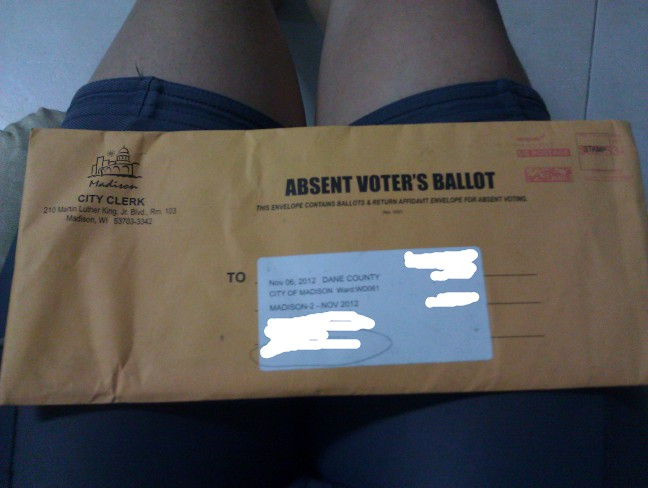 Mr. Potato's absentee ballot envelope