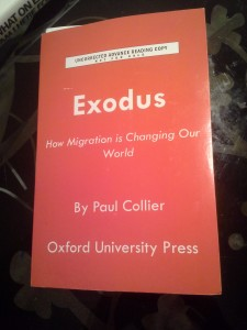 Paul Collier, Exodus (advance reading copy)